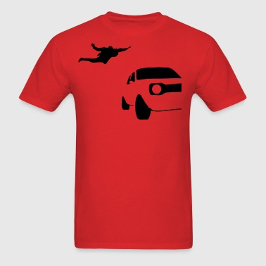 Jumping On Car Silhouette - Men's T-Shirt