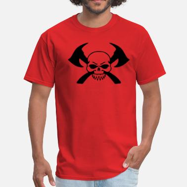 Two Axes - Crossed Axes Firefighter Skull - Men's T-Shirt