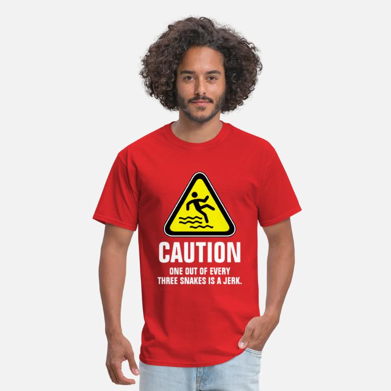 Caution T-Shirts - Caution one out of every three snakes is a jerk - Men's T-Shirt red
