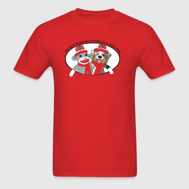 Sock Monkey and Aussie Dog - Men's T-Shirt