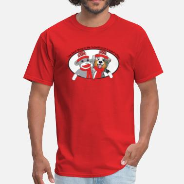 Sock Sock Monkey and Aussie Dog - Men's T-Shirt