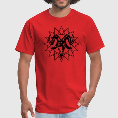 Lucifer Ram Goat Head with Chaos Star - Men's T-Shirt