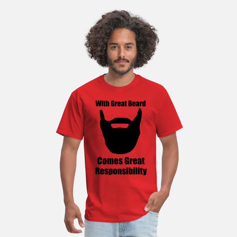 Beard T-Shirts - With great beard comes great responsibility. - Men's T-Shirt red