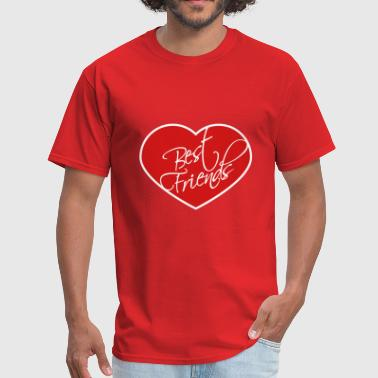heart shape frame best friends text logo friends b - Men's T-Shirt