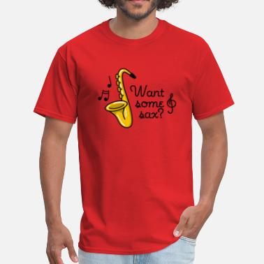 Sex Puns Want some sax? Saxophone sex pun puns cartoon - Men's T-Shirt