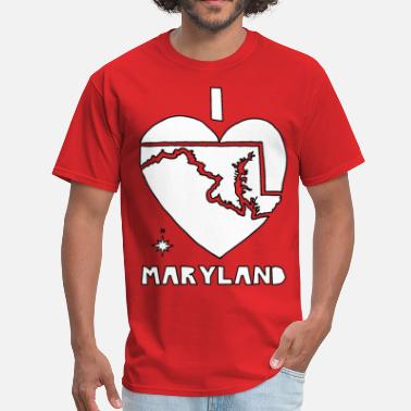 Maryland State Heart  i heart Maryland (white) - Men's T-Shirt