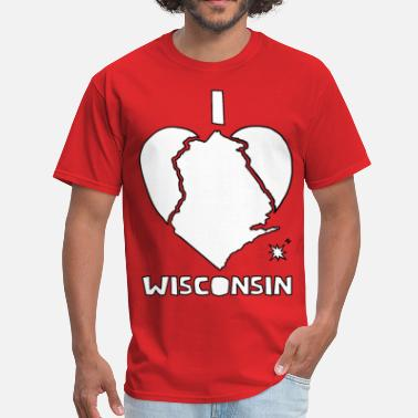 Wisconsin Heart  i heart Wisconsin (white) - Men's T-Shirt