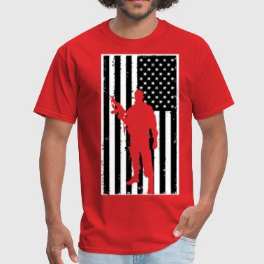 American Flag soldier - Men's T-Shirt