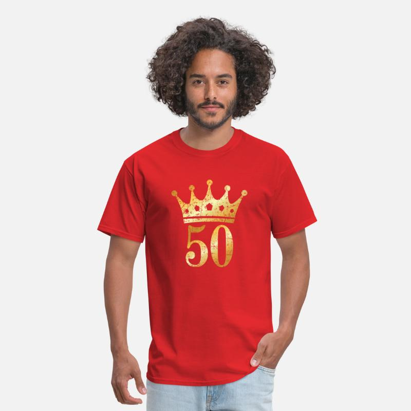 50th Birthday T-Shirts - 50th Birthday & Anniversary Crown (Vintage Gold) - Men's T-Shirt red