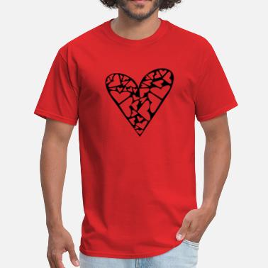 Side Piece Hearts Cut Out In Heart Formation, Asymmetrical - Men's T-Shirt