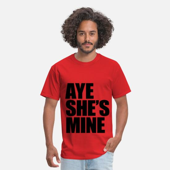 Couples T-Shirts - AYE SHE'S MINE - Men's T-Shirt red