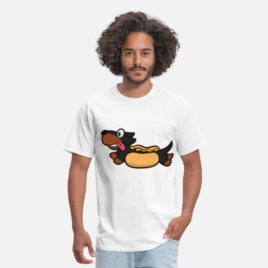 Mustard T-Shirts - Hotdog Dog - Men's T-Shirt white