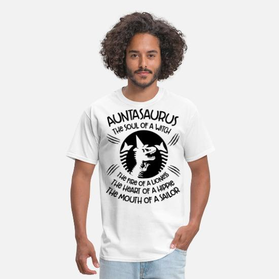 Fuck T-Shirts - auntasaurus the soul of a witch the fire of a lion - Men's T-Shirt white