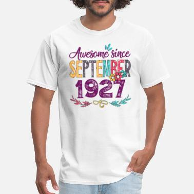Womens September 1927 92nd Birthday Gift Flower - Men's T-Shirt