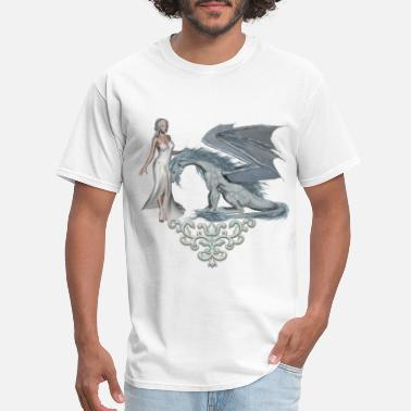 Ice Dragon Wonderful fairy with ice dragon - Men's T-Shirt