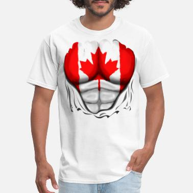 Canada Canada Flag Ripped Muscles, six pack, chest - Men's T-Shirt