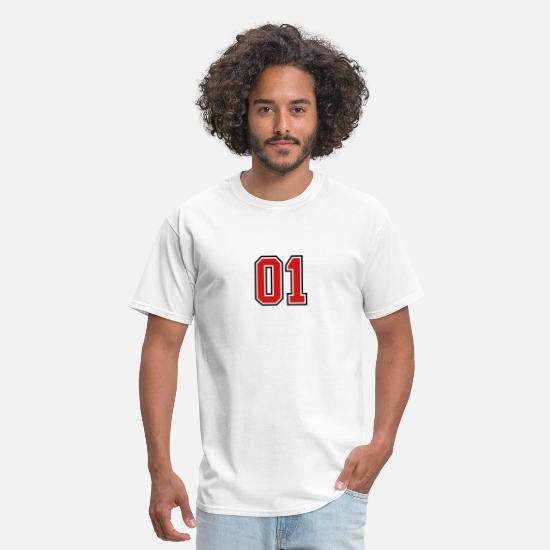 Birthday T-Shirts - 01 sports jersey football number - Men's T-Shirt white