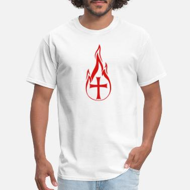 On Fire For Jesus hot fire flames burning church symbol cross jesus - Men's T-Shirt