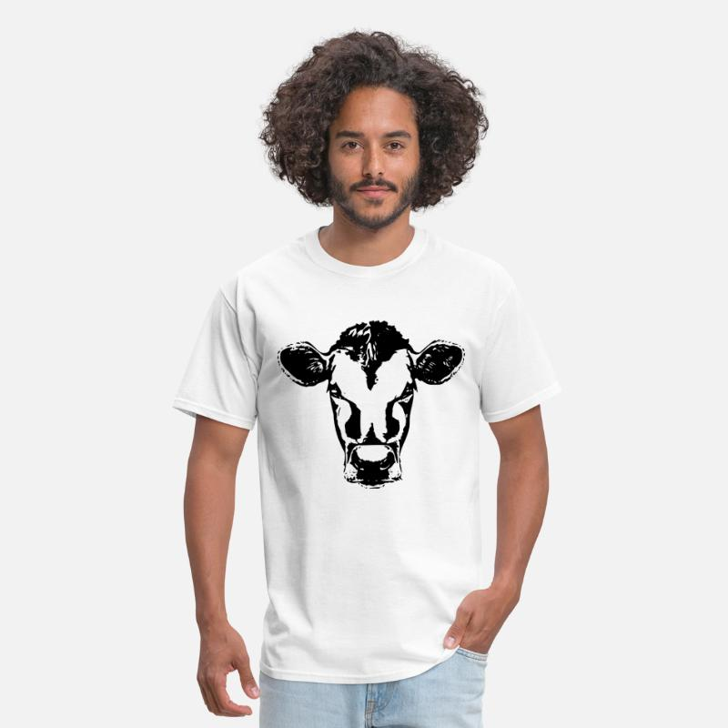 Urban Cowboy T-shirts T-Shirts - Cow face svg for cricut silhouette decals yeti cup - Men's T-Shirt white