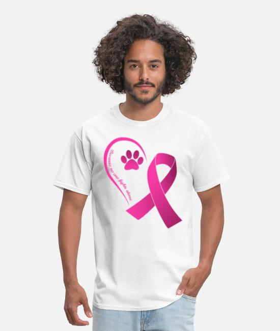 Breast Cancer Awareness T-Shirts - Because No One Fights Alone Dog Paws Breast Cancer - Men's T-Shirt white