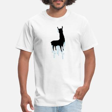 Alpaca Wool drop graffiti spray silhouette black outline lama - Men's T-Shirt