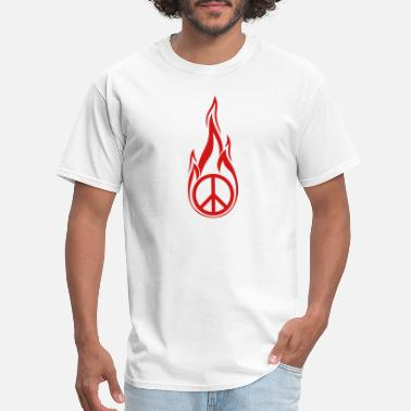 Flame Symbol hot fire flames burn round circle no peace sign sy - Men's T-Shirt