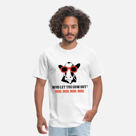 Sayings T-Shirts - who let the cow out farm t shirts - Men's T-Shirt white