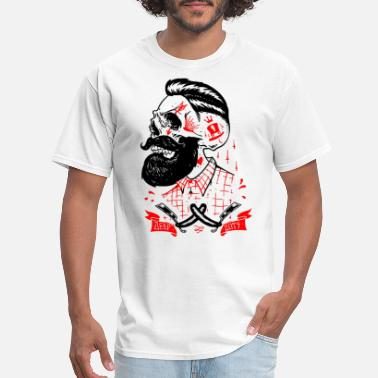 Beard Deep Cuts Skull Tattoo Mens Short Sleeve bea - Men's T-Shirt