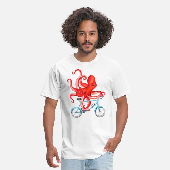 Octopus T-Shirts - Cycling octopus - Men's T-Shirt white