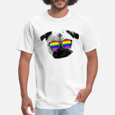 Gay Bubble Lgbt Funny Pug Puppy Glasses Gay Pride Mens T