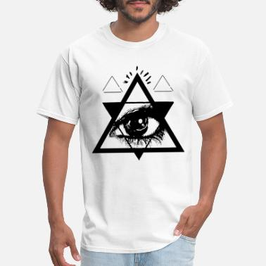 T Eye Triangle Psychedelic All Seeing Eye Occult Triangle Graphic - Men's T-Shirt