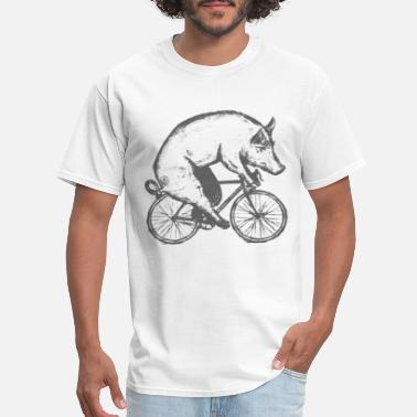 Unisex Tri-blend Pig on a Bicycle Mens Unisex Tee Tri Blend Tee Han - Men's T-Shirt
