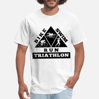 Hate Cycling Triathlon Triangle Mens Cycling Running Swimming I - Men's T-Shirt