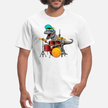 Awesome Cute Dinosaurs Drums Music Playing Design - Men's T-Shirt