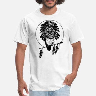 Gun Hawaii Men s Hawaii Grey Owl Pueo Head Dress Feathers Nat - Men's T-Shirt
