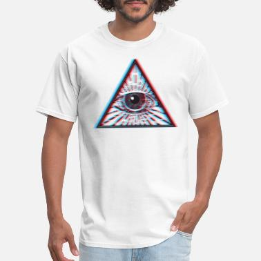 Red All Seeing Eye 3D Illuminati Eye - Men's T-Shirt