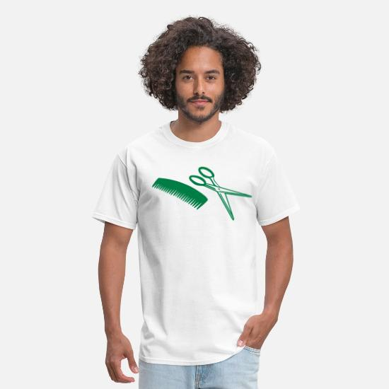 Hair T-Shirts - Coiffeur – Hairdresser – Comb – Scissors - Men's T-Shirt white