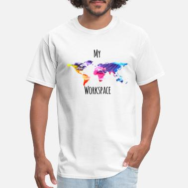 Workspace My workspace digital nomads colorful - Men's T-Shirt