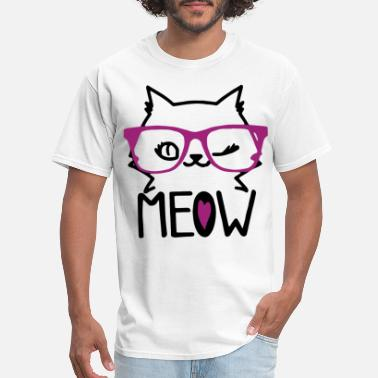 Kitty Love Family Meow Kitty Cat with Glasses Funny Women s Cat Love - Men's T-Shirt