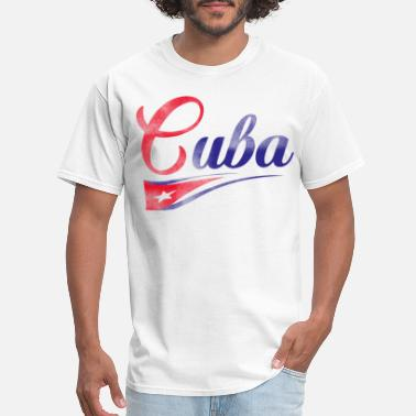 Flags Middle Finger Cuba Flag Script Font skeleton - Men's T-Shirt