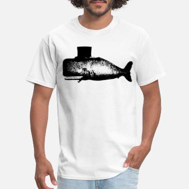 American Traditional Tattoo Men s Whale Tophat Cigar Tattoo American Apparel N - Men's T-Shirt