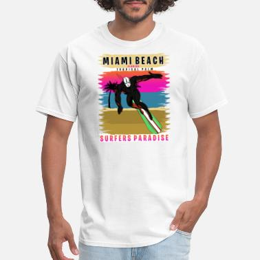 Miami Girl Miami Beach Florida Tropical Palm Surf - Men's T-Shirt