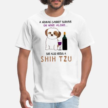 Woman a woman can not survive on wine alone she also nee - Men's T-Shirt