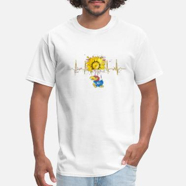 Jayhawk Funny kanas jayhawks color drop sunflower heartbeat ku l - Men's T-Shirt