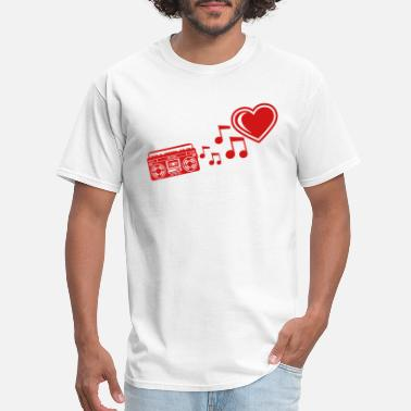 I Love A Dj red i love heart love ghettoblaster music notes mu - Men's T-Shirt