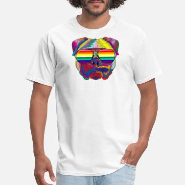 Gay 70s Psychedelic Pug Dog Face with Gay Pride Sunglasses - Men's T-Shirt
