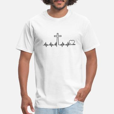 Jesus Heartbeat Heartbeat of cross heartbeat of a croos love jesus - Men's T-Shirt