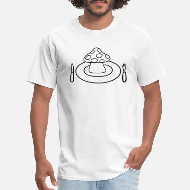 Midday cutlery plate knife fork midday mushroom fly agari - Men's T-Shirt