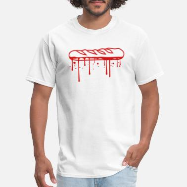 Jam Bread drop blood jam baguette bread bun french france de - Men's T-Shirt