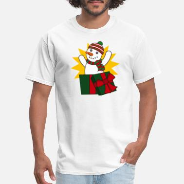 Box Jump Funny Cute Funny Snowman Frosty Christmas Gift Package - Men's T-Shirt